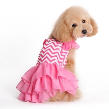 Chevron Dog Dress- Pink