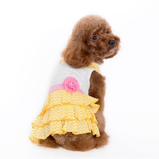 Chevron Dog Dress- Sunshine