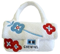 Chewnel White Floral Purse Dog Toy