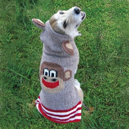 Sock Monkey Dog Sweater With Ears By Chilly Dog Dog