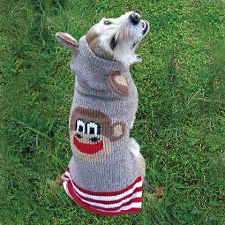 Sock-Monkey Dog Sweater with Ears