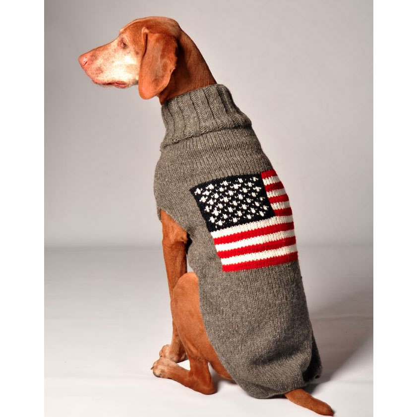 American Flag Wool Dog Sweater Designer Dog Clothes At