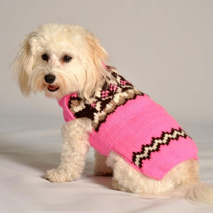 Pink Aspen Wool Dog Sweater Designer Dog Clothes At
