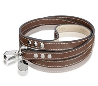 Italian Saffiano Leather Dog Leash - Chocolate
