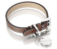 Italian Saffiano Leather Dog Collar - Chocolate