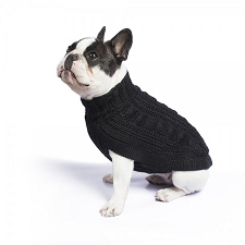 Chunky Cable Alpaca Dog Sweater- Black