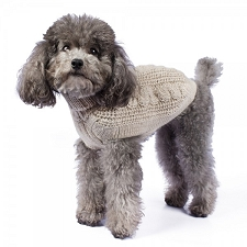 Chunky Cable Alpaca Dog Sweater- Natural