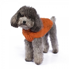Chunky Cable Alpaca Dog Sweater- Orange