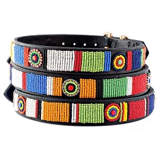 Handmade African Beaded Leather Dog Collar - Circle of Life