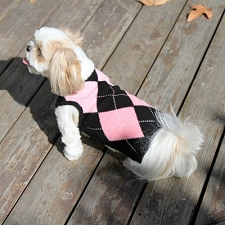Clarissa Preppy Pink Argyle Cashmere Blend Dog Sweater