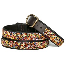Handmade African Beaded Leather Dog Collar- Confetti