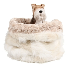 Cuddle Cup Dog Bed - Cream Fox with Camel Curly Sue