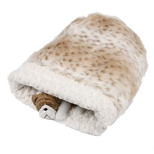 Cuddle Cup Dog Bed- Cream Snow Leopard