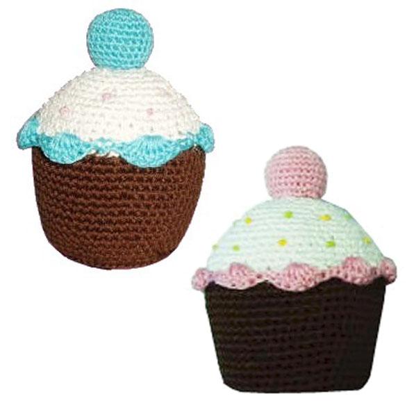 Cupcake Organic Cotton Hand Knit Dental Dog Toy Designer