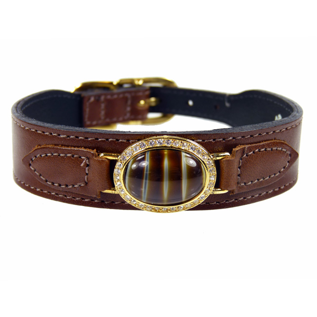 Dakota Estate Swarovski Crystal Leather Dog Collar Brown