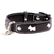 Terrier Leather  Dog Collar - Black and White
