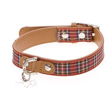 Highland Designer Leather Dog Collar - Red Tartan