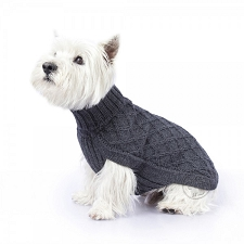 Diamond Knit Alpaca Dog Sweater- Charcoal