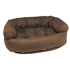 Microvelvet Double Donut Dog Bed Sofa - Cowboy Brown