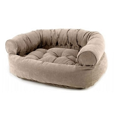 Microvelvet Double Donut Dog Bed Sofa - Putty