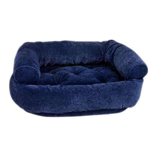 Microvelvet Double Donut Dog Bed By Bowsers Navy Filigree