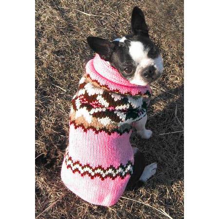 Pink Aspen Wool Dog Sweater - Designer Dog Clothes at GlamourMutt.com