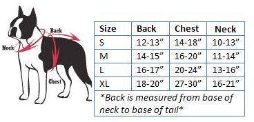 Dog Boutique Sports Size Guide
