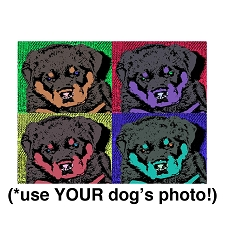 Doggy Warhol Custom Quad Portrait Pop Art Dog Bed