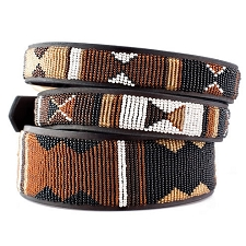 Handmade African Beaded Leather Dog Collar - Earth