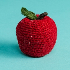 Fair-Trade Handknit Dog Toy- Apple