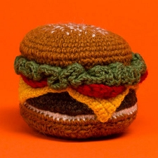Fair-Trade Handknit Dog Toy- Hamburger