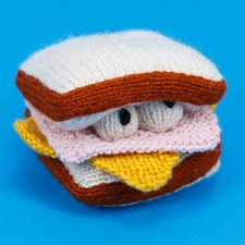 Fair-Trade Handknit Dog Toy- Ham & Cheese
