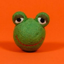 Fair-Trade Wool Dog Toy- Frog