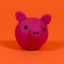 Fair-Trade Wool Dog Toy- Piggy Face