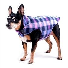 Fargo Fleece Dog Jacket- Purple Check