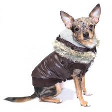 Faux Fur Puffer Dog Coat - Brown