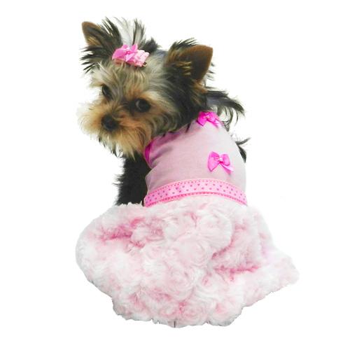 Fluffy Muffy Pink Dog Dress | Designer Dog Clothes at Glamourmutt.com