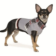 Foxy Scarf Cashmere Dog Sweater- Grey