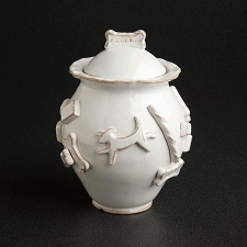 French White Dog Treat Jar by Carmel Ceramica