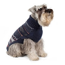 Frozen Snowflake Handknit Alpaca Dog Sweater- Blue