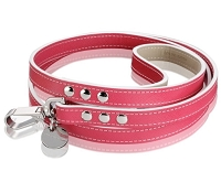 Italian Saffiano Leather Dog Leash - Fuchsia
