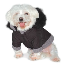 Gizmo Furry Trim Dog Parka Coat- Black