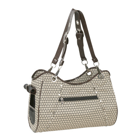 Genevieve Dog Carrier By Petote Noir Dots Designer Purses At Glamourmutt