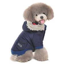 Gizmo Furry Trim Dog Parka Coat- Navy