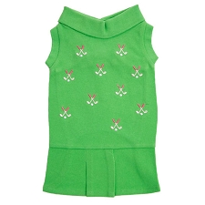 Golfers Embroidered Preppy Dog Tennis Dress - Green