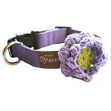 Crochet Flower Dog Collar - Grape Soda
