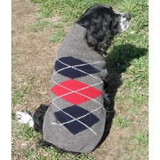 Grey Argyle Wool Dog Sweater
