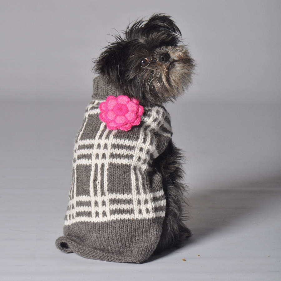Chilly Dog Grey Plaid Dog Sweater With Flower