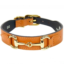 Gucci Poochie Italian Leather Dog Collar - Tangerine