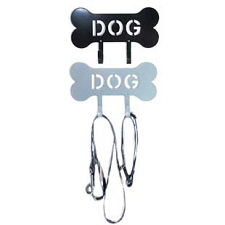 DOG Bone Leash Holder Rack- Black and Silver